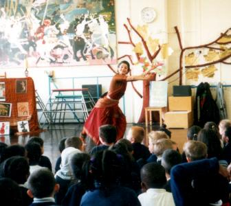 Fabrizia performing in a school assembly |